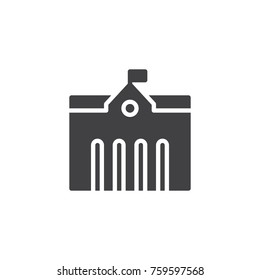 Town city hall icon vector, filled flat sign, solid pictogram isolated on white. Symbol, logo illustration