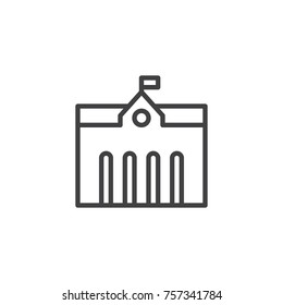 Town city hall line icon, outline vector sign, linear style pictogram isolated on white. Symbol, logo illustration. Editable stroke
