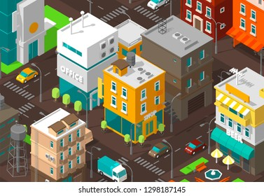 Town district street. Isometric road Intersection. High detail city projection view. Cars end buildings top view. Shop, office and cafe.