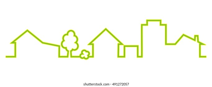 town, green silhouette, vector icon, outline