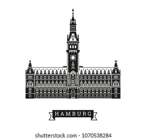 Town hall of Hamburg, Germany. Detailed vector Illustration with banner.