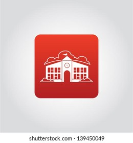 Town hall icon, old city office building, vector illustration