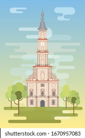 Town Hall Square at the heart of the Old Town, Kaunas, Lithuania. Illustration vector.