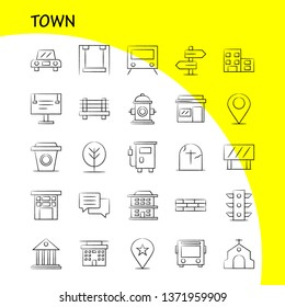 Town Hand Drawn Icons Set For Infographics, Mobile UX/UI Kit And Print Design. Include: Location, Map, Town, Church, House, Town, Park, Playground, Icon Set - Vector