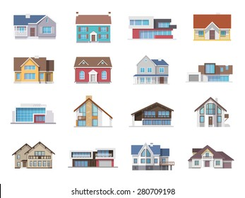 Town house cottage and assorted real estate building icons flat set isolated vector illustration
