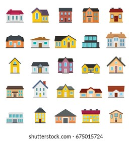 Town house cottage and assorted real estate modern and retro building icons simple black silhouette set isolated vector illustration