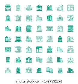town icons. Editable 49 town icons. Included icons such as Building, City, Company, Shop, Apartments, Skyline, Villa, Apartment, Skyscraper, Bar, Town hall. trendy icons for web.