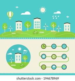 Town Landscape. Eco Living Infographics Elements
