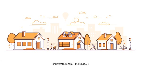 Town landscape - modern thin line design style vector illustration on white background. Orange colored composition with facades of cottage houses, lanterns, people walking, cycling, merry go round