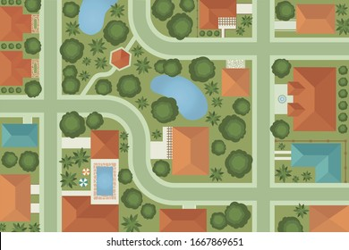 Town map aerial view illustration. Neighborhood top view cartoon background. Landscape from above, house roofs and trees aerial view vectors.