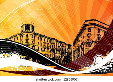 town on a decorative grunge background