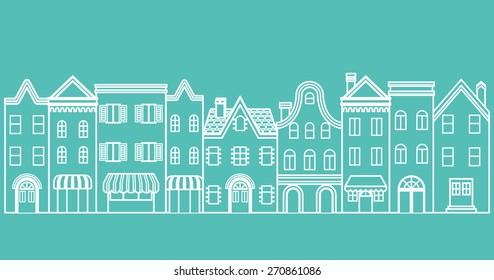 Town scape line Illustration
