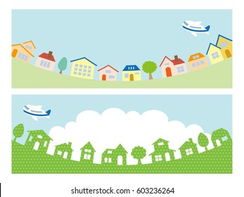 Town scape and sky banner set