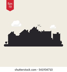 Town Silhouette. City Icon. Symbol Of Small Town. Vector Illustration