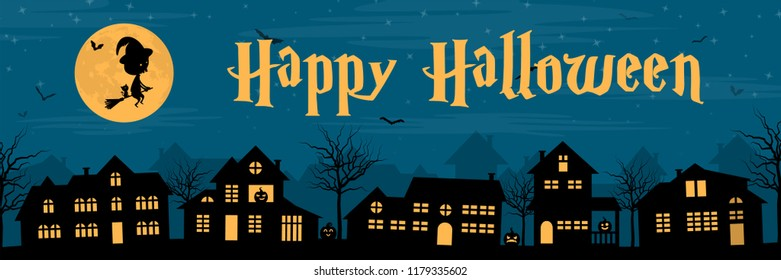 Town silhouette with a witch, pumpkins and bats at night. Happy halloween banner.
