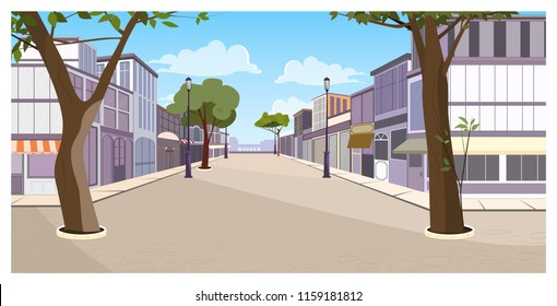 Town street with buildings, trees and empty pavement vector illustration. Summer day and blue sky. Summer town street concept. For websites, wallpapers, posters or banners.