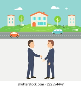 Town Street with Houses, Cars and Road. Real Estate Agent Giving a Key. Shared Economy and Collaborative Consumption Illustration.