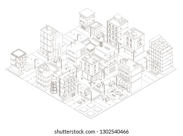Town street Intersection road. Buildings Isometric top view. Gray lines outline contour style.