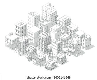 Town street Intersection road. Buildings Isometric top view. Gray lines outline contour vector style with shadows.