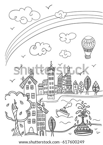 Town Street Rainbow Coloring Book Page Stock Vector (Royalty Free ...
