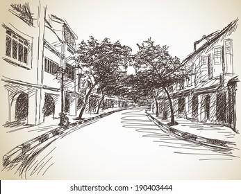 Town street sketch Vector illustration