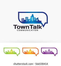 Town talk, city, building, chat, communication, building, talking. Vector logo template