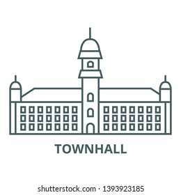 Townhall vector line icon, linear concept, outline sign, symbol