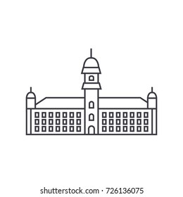 townhall vector line icon, sign, illustration on background, editable strokes