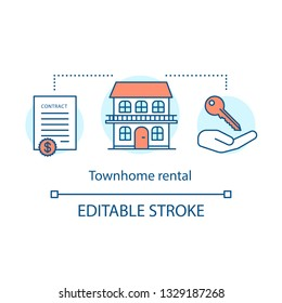 Townhome rental concept icon. Property deals. Key handover. Housing rent. Contract, house, key on hand. Family house rent idea thin line illustration. Vector isolated outline drawing. Editable stroke