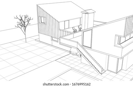 townhouse architectural sketch 3d illustration