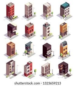 Townhouse buildings isometric set of sixteen isolated colourful buildings with multiple storeys and modern architecture design vector illustration