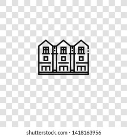 townhouse icon from city and village collection for mobile concept and web apps icon. Transparent outline, thin line townhouse icon for website design and mobile, app development