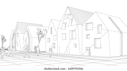 townhouse street sketch 3d graphics