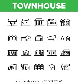 Townhouses, Residential Buildings Vector Linear Icons Set. Townhouse, Cottage And Villa Outline Symbols Pack. Countryside And Suburbs Area Property, Real Estate Isolated Contour Illustration