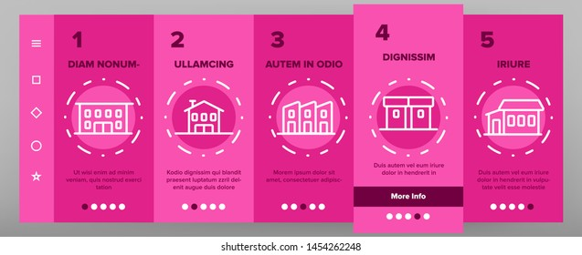Townhouses, Residential Buildings Vector Onboarding Mobile App Page Screen. Townhouse, Cottage And Villa Outline Symbols Pack. Countryside And Suburbs Area Property, Real Estate Illustration