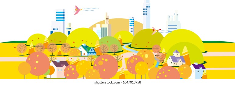 Townscape of autumn leaves