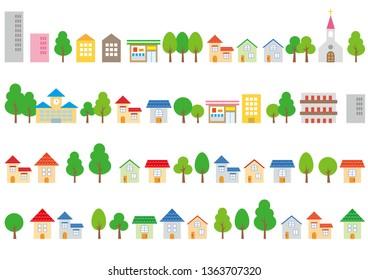Townscape illustration set