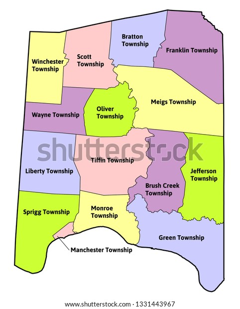 Townships Adams County Ohio State Usa Stock Vector Royalty Free