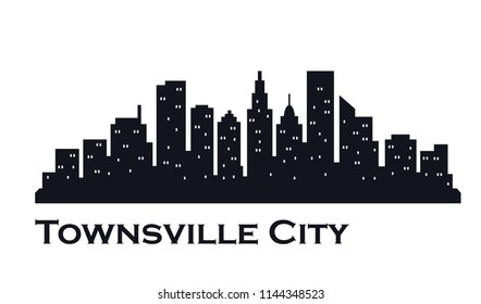 Townsville city skyline silhouette. Vector design illustrations