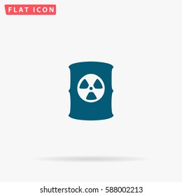Toxic container Icon Vector. Flat simple Blue pictogram on white background. Illustration symbol with shadow