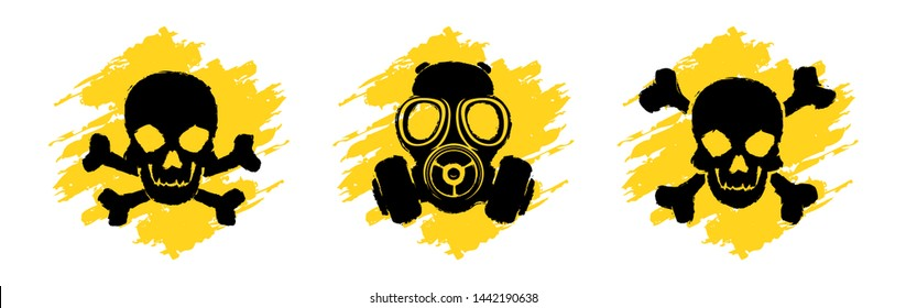 Toxic Hazard Grunge Signs. Poison vector symbols. Skull and crossbones signs. Gas mask warning sign