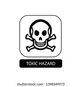 Toxic hazard sign. Flat packaging symbol. Mail box icon isolated on white. Vector illustration