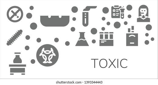 toxic icon set. 11 filled toxic icons.  Collection Of - No smoking, Ashtray, Centipede, Flasks, Flask, Test tube, Biohazard, Science, Cigarettes, Teleoperator