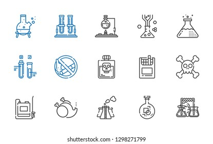toxic icons set. Collection of toxic with flask, pollution, without, sprayer, skull, cigarettes, poison, no smoking, test tube. Editable and scalable toxic icons.