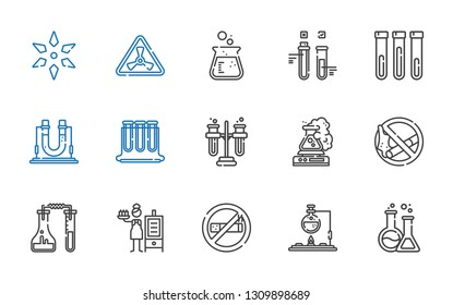 toxic icons set. Collection of toxic with flask, no smoke, smoker, no smoking, tubes, test tubes, test tube, nuclear, science. Editable and scalable toxic icons.