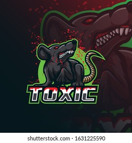 toxic mascot logo design vector with modern illustration concept style for badge, emblem and tshirt printing. angry rat illustration.