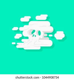 Toxic nebulization of pesticide. Cloud of smoke in the shape of a skull representing death. Acaricide, contamination. Flat design, vector illustration. Extermination, fume, chlorofluorocarbons.