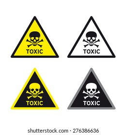 Toxic poison sign vector set