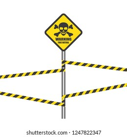 Toxic safety sign icon vector or poison with skull,cranium,crossbones and yellow square prohibition flat symbols logo illustration isolated on white background.Concepts for zone warning,danger,alert.