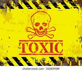 Toxic skull and crossbones grungy enamel metal sign